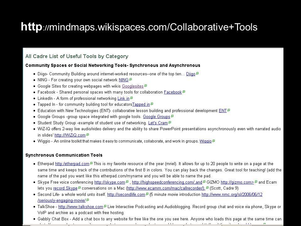 http :// mindmaps.wikispaces.com/Collaborative+Tools