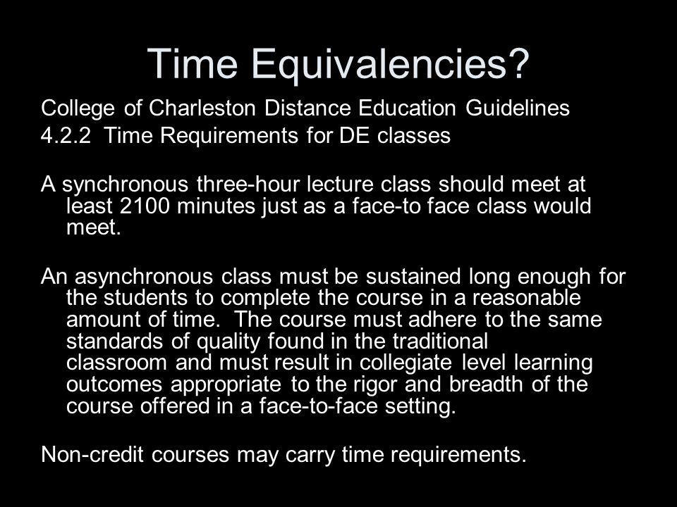 Time Equivalencies.