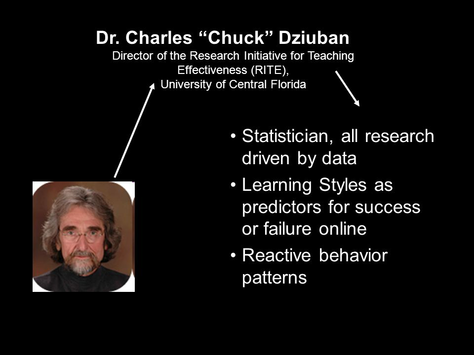 """Dr. Charles """"Chuck"""" Dziuban Director of the Research Initiative for Teaching Effectiveness (RITE), University of Central Florida Statistician, all res"""