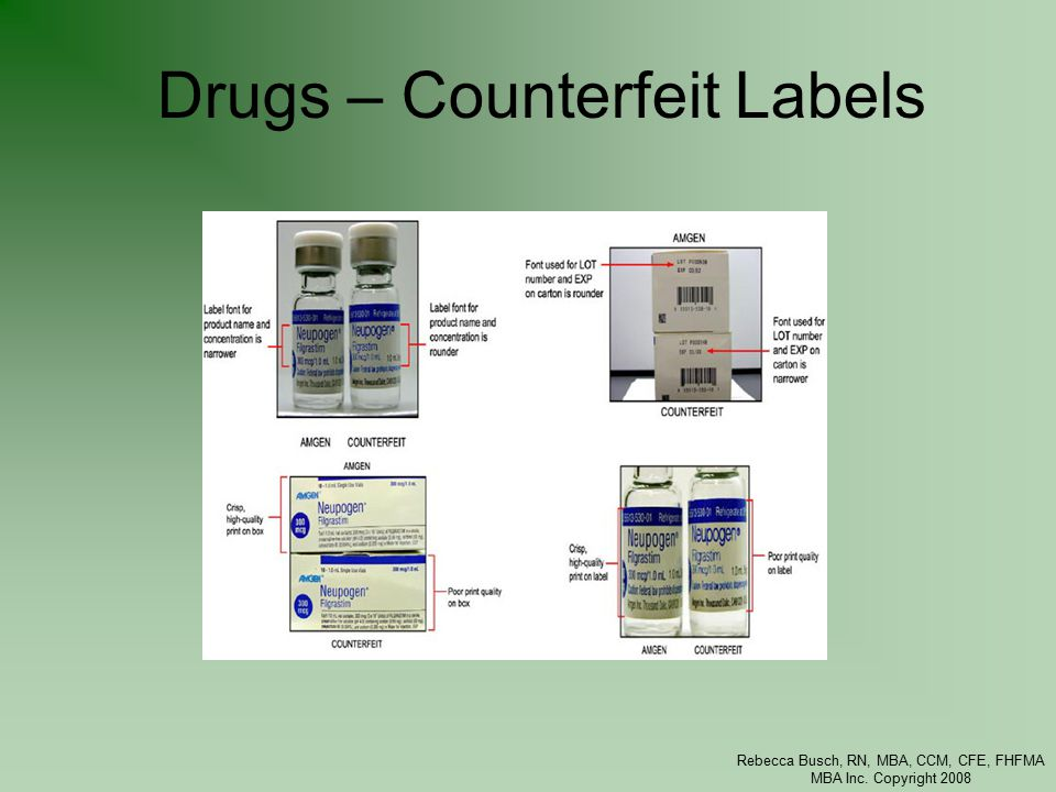 Rebecca Busch, RN, MBA, CCM, CFE, FHFMA MBA Inc. Copyright 2008 Drugs – Counterfeit Labels