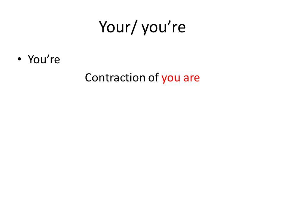 Your/ you're You're Contraction of you are