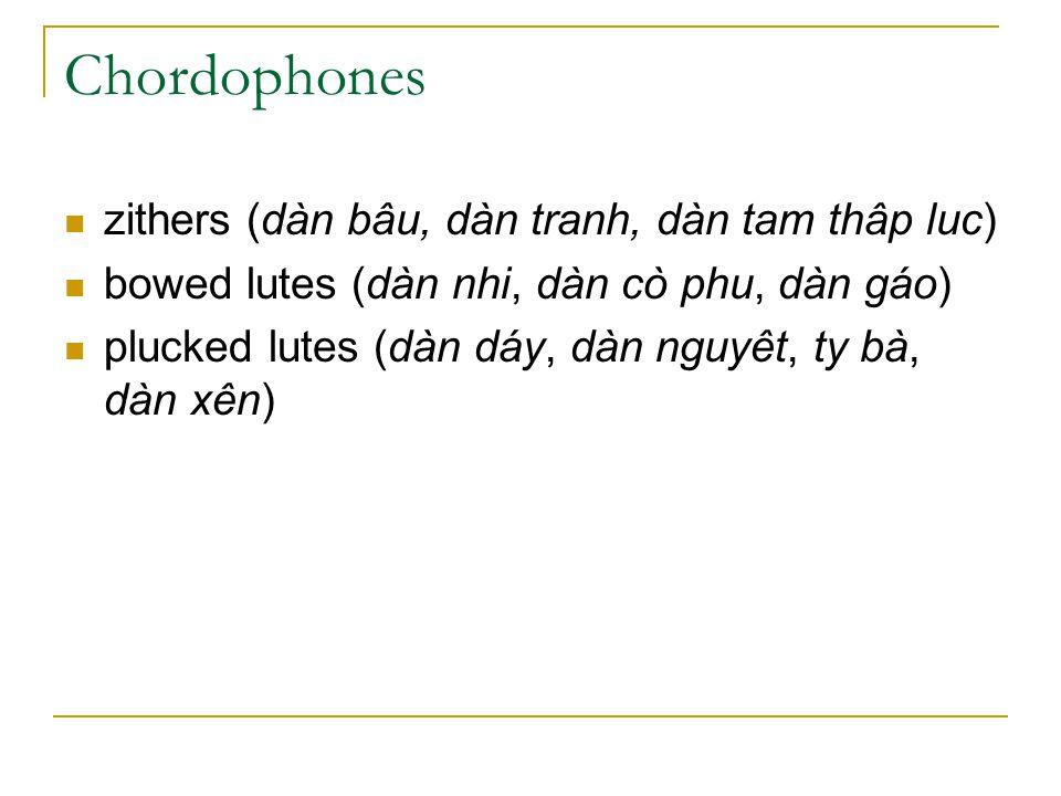 Chordophones zithers (dàn bâu, dàn tranh, dàn tam thâp luc) bowed lutes (dàn nhi, dàn cò phu, dàn gáo) plucked lutes (dàn dáy, dàn nguyêt, ty bà, dàn