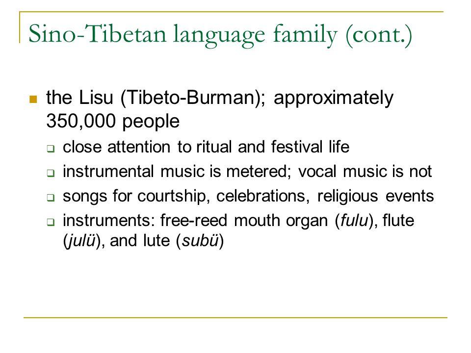 Sino-Tibetan language family (cont.) the Lisu (Tibeto-Burman); approximately 350,000 people  close attention to ritual and festival life  instrument