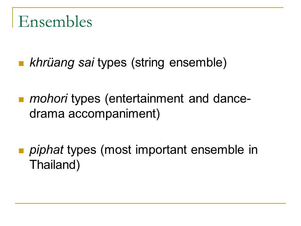 Ensembles khrüang sai types (string ensemble) mohori types (entertainment and dance- drama accompaniment) piphat types (most important ensemble in Tha