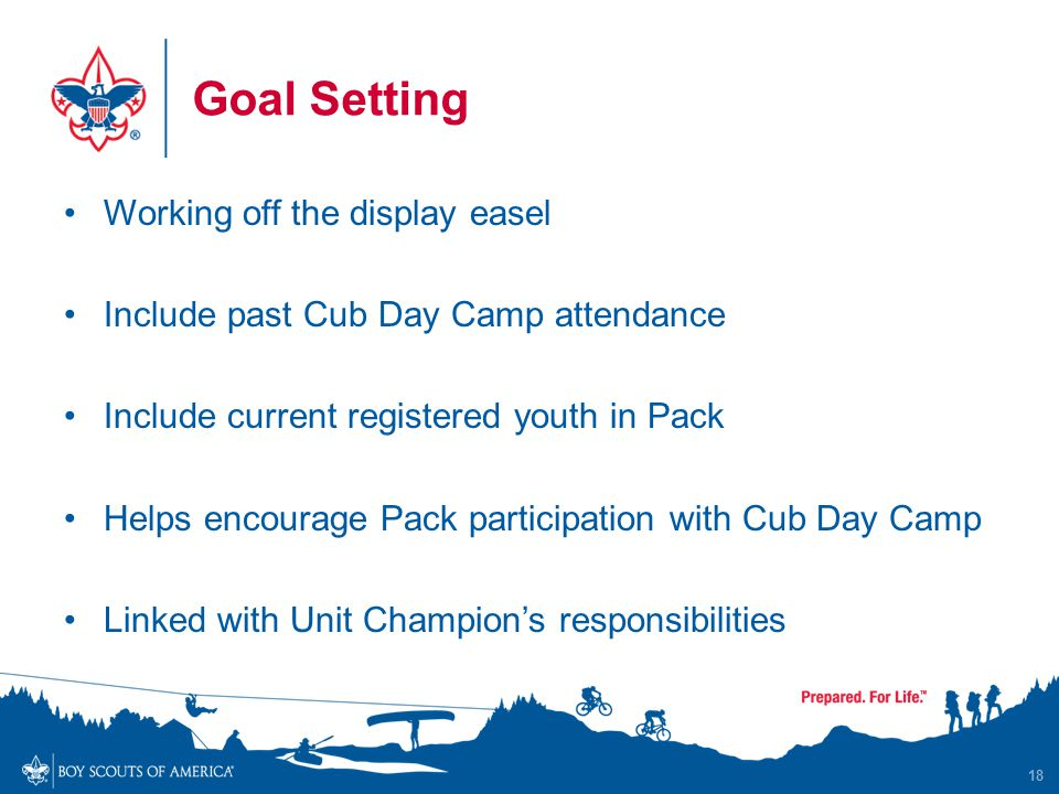 Goal Setting Working off the display easel Include past Cub Day Camp attendance Include current registered youth in Pack Helps encourage Pack participation with Cub Day Camp Linked with Unit Champion's responsibilities 18