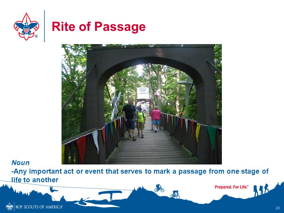 Rite of Passage 20 Noun -Any important act or event that serves to mark a passage from one stage of life to another