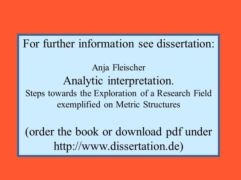 For further information see dissertation: Anja Fleischer Analytic interpretation.