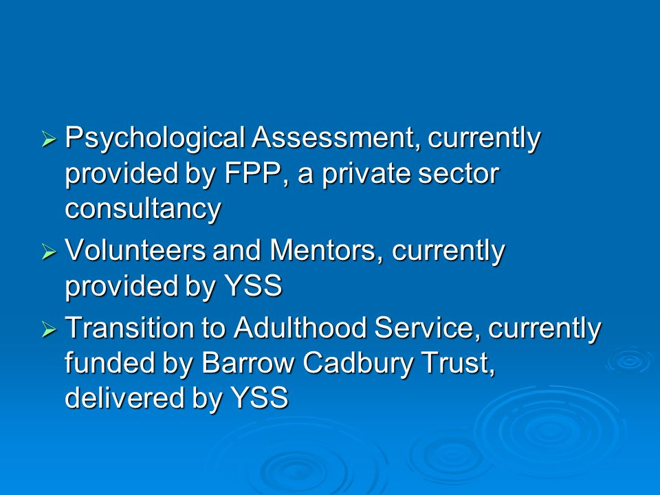  Psychological Assessment, currently provided by FPP, a private sector consultancy  Volunteers and Mentors, currently provided by YSS  Transition to Adulthood Service, currently funded by Barrow Cadbury Trust, delivered by YSS