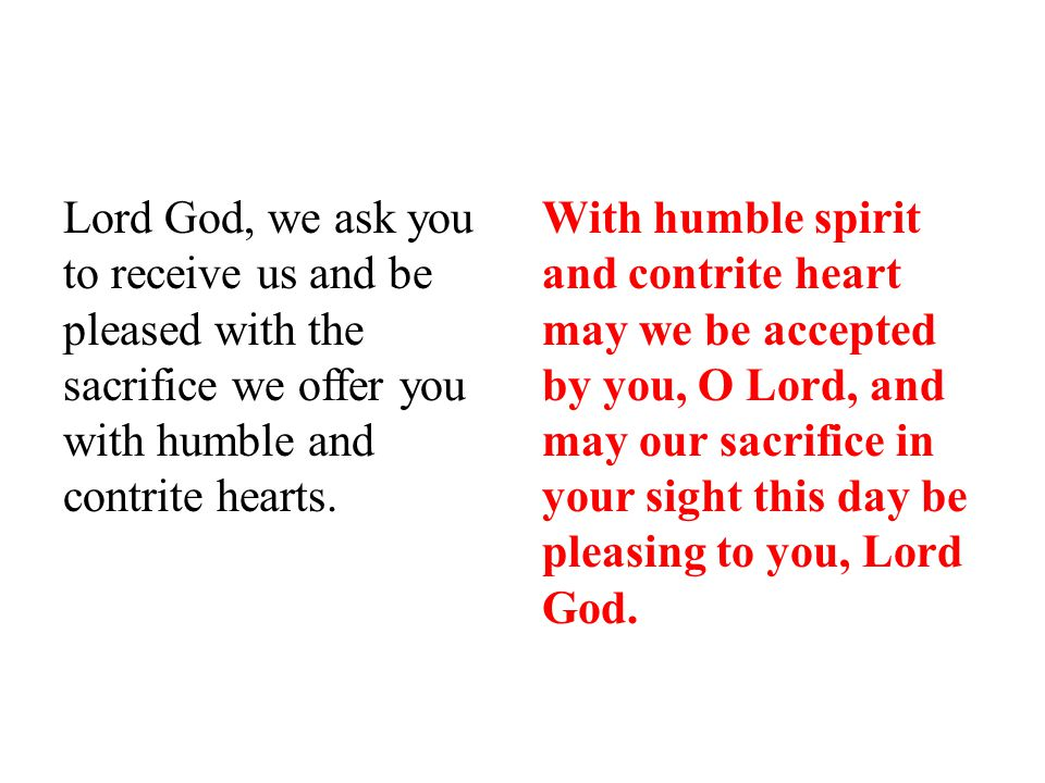 Lord God, we ask you to receive us and be pleased with the sacrifice we offer you with humble and contrite hearts.
