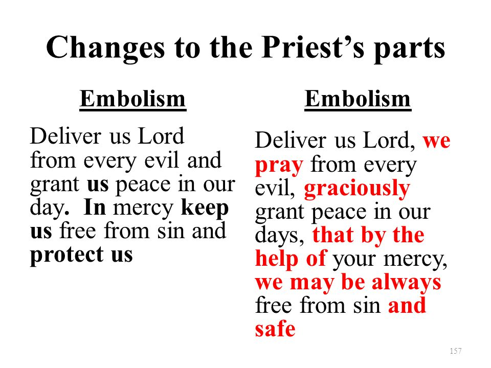Changes to the Priest's parts Embolism Deliver us Lord from every evil and grant us peace in our day.