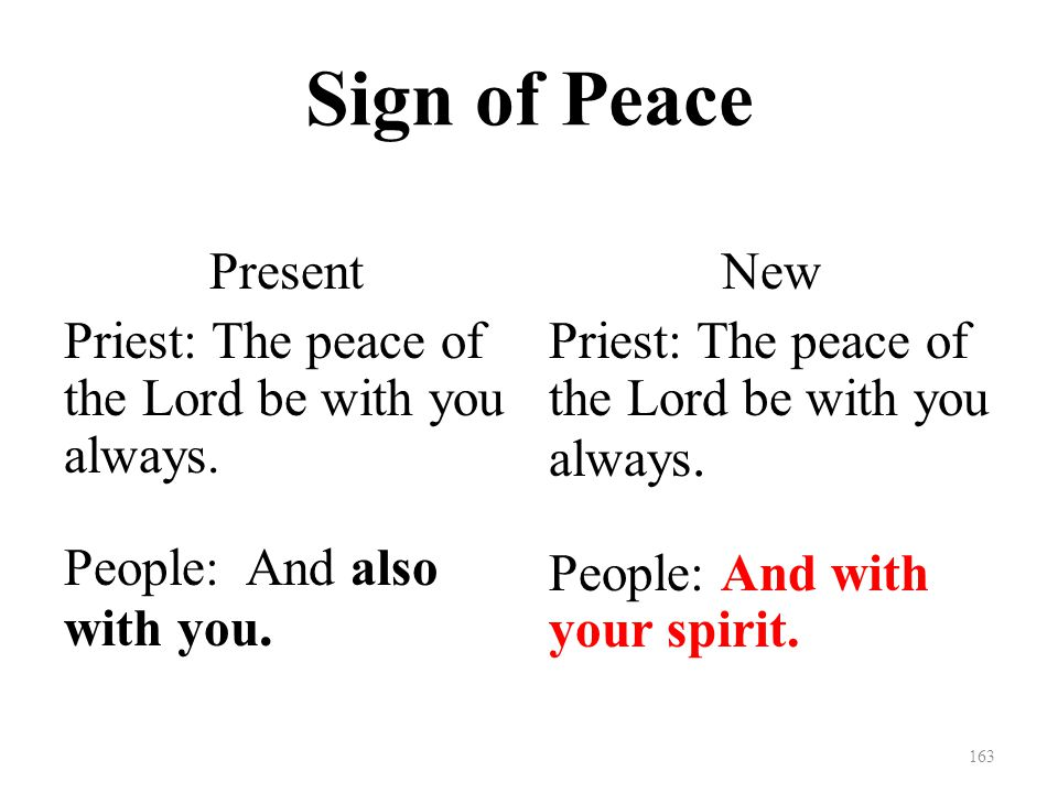 Sign of Peace Present Priest: The peace of the Lord be with you always.
