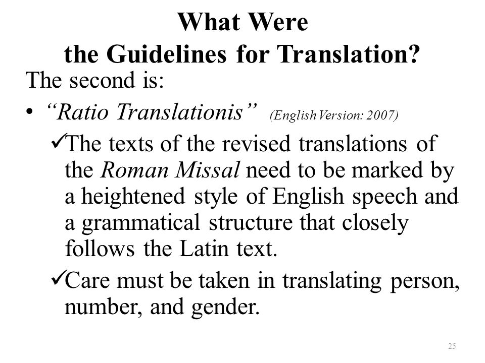 What Were the Guidelines for Translation.