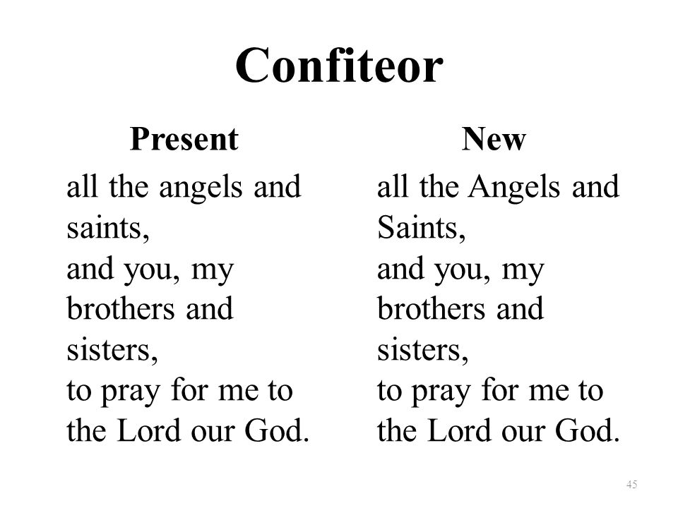 Confiteor Present all the angels and saints, and you, my brothers and sisters, to pray for me to the Lord our God.