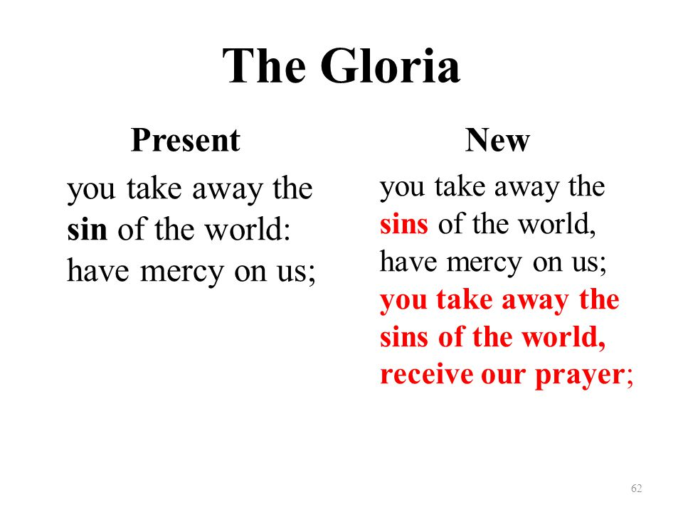 The Gloria Present you take away the sin of the world: have mercy on us; New you take away the sins of the world, have mercy on us; you take away the sins of the world, receive our prayer; 62