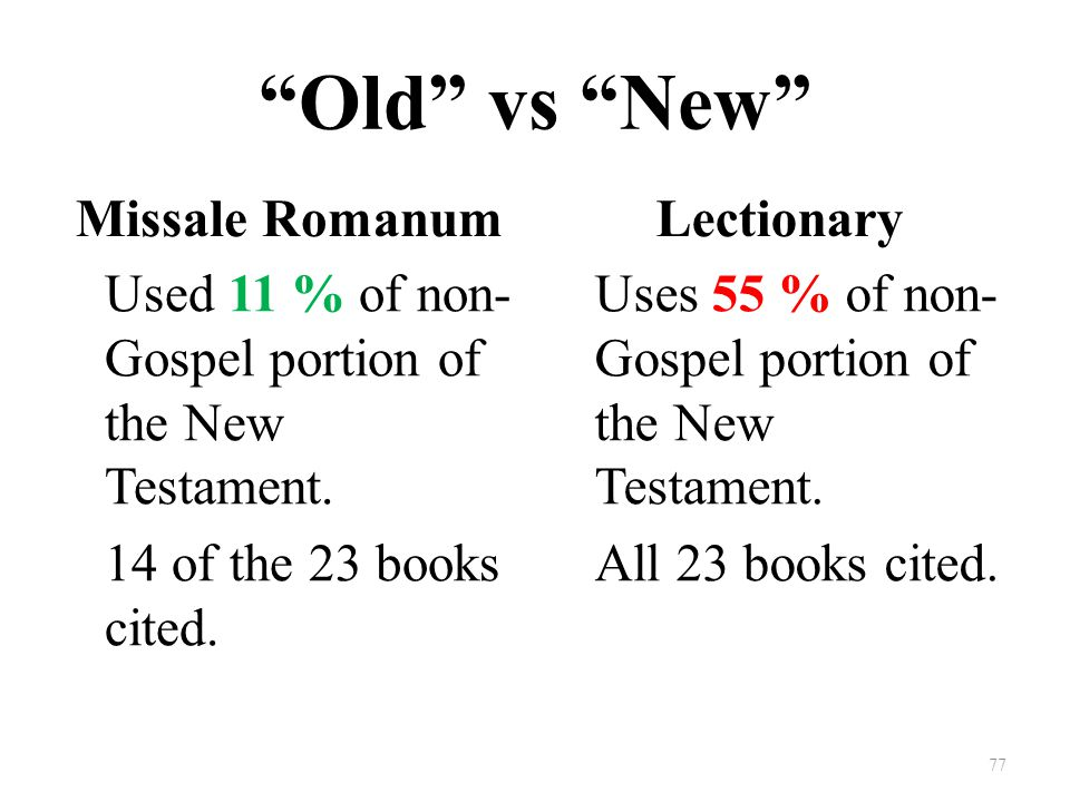 Old vs New Missale Romanum Used 11 % of non- Gospel portion of the New Testament.