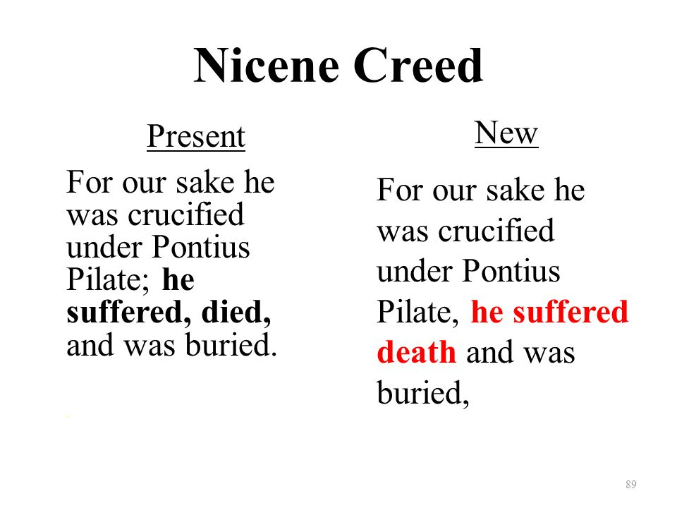 Nicene Creed Present For our sake he was crucified under Pontius Pilate; he suffered, died, and was buried..