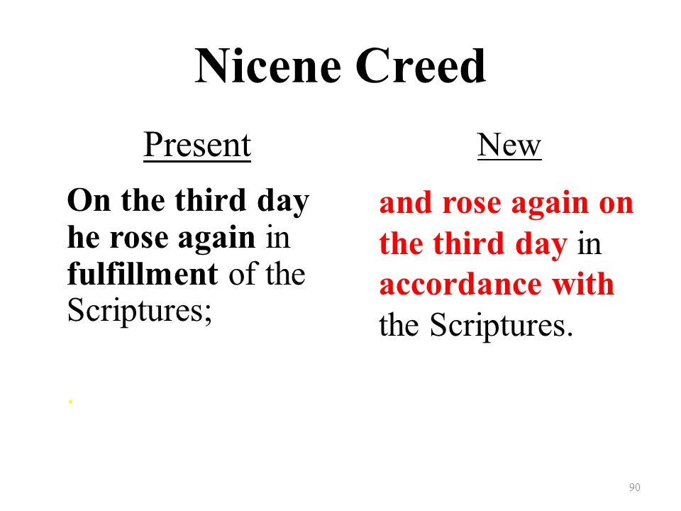 Nicene Creed Present On the third day he rose again in fulfillment of the Scriptures;.