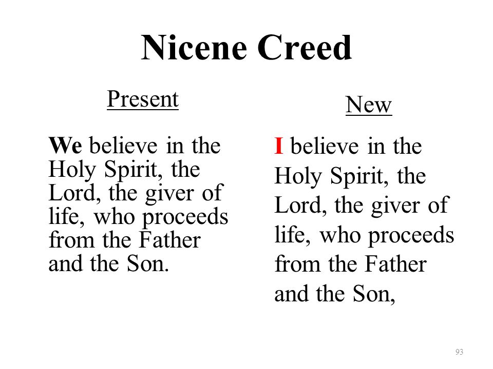 Nicene Creed Present We believe in the Holy Spirit, the Lord, the giver of life, who proceeds from the Father and the Son.