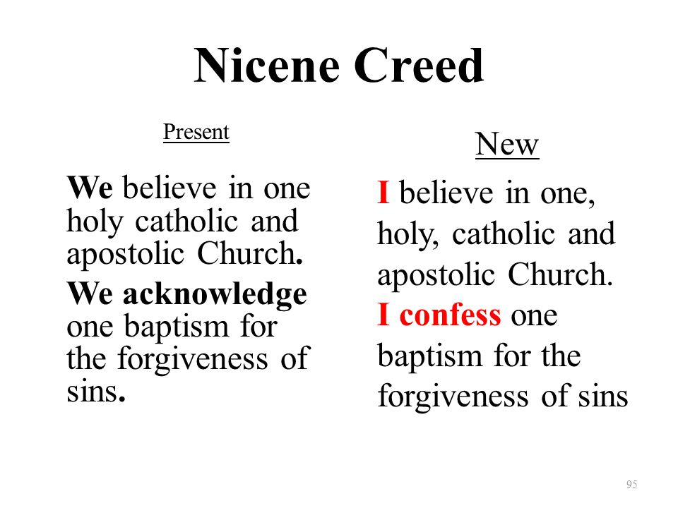 Nicene Creed Present We believe in one holy catholic and apostolic Church.