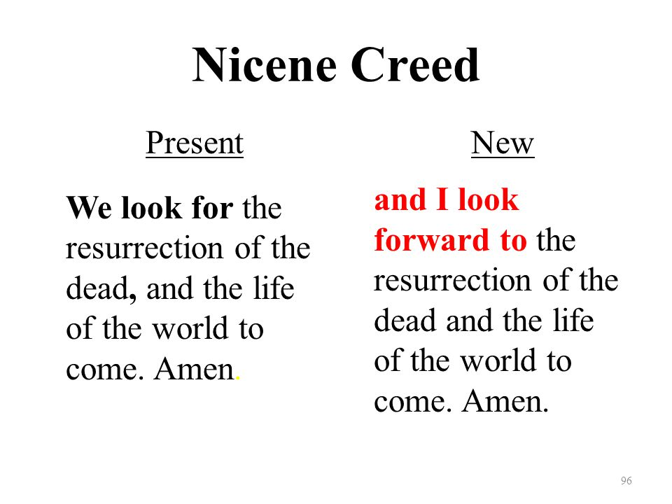 Nicene Creed Present We look for the resurrection of the dead, and the life of the world to come.