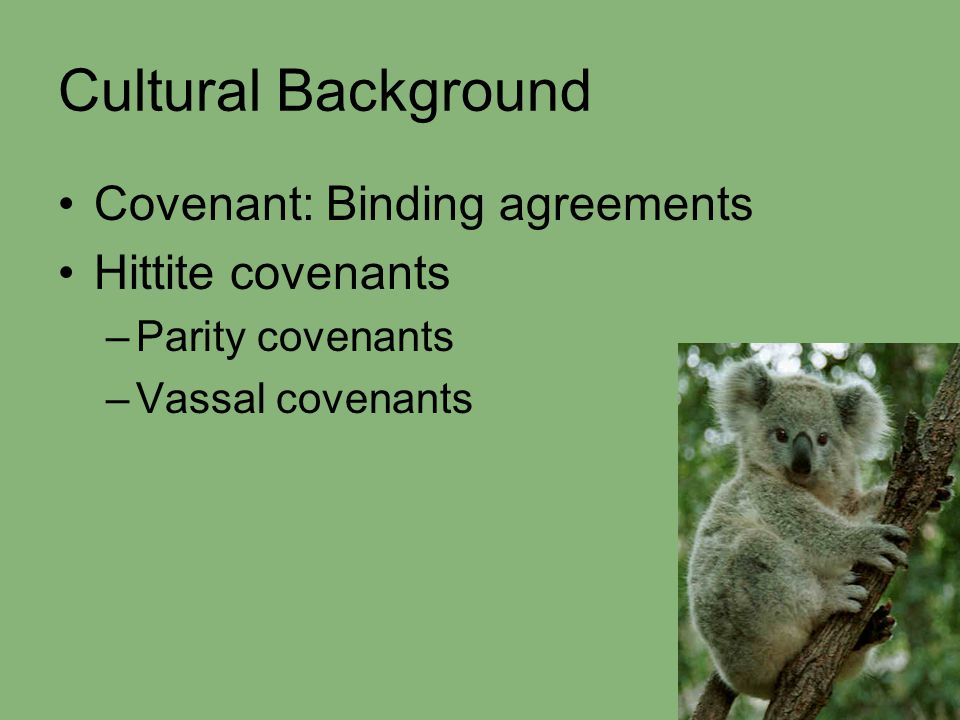 Cultural Background Covenant: Binding agreements Hittite covenants –Parity covenants –Vassal covenants