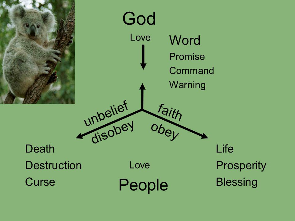 God Love unbelief disobey faith obey Word Promise Command Warning Life Prosperity Blessing Death Destruction Curse Love People