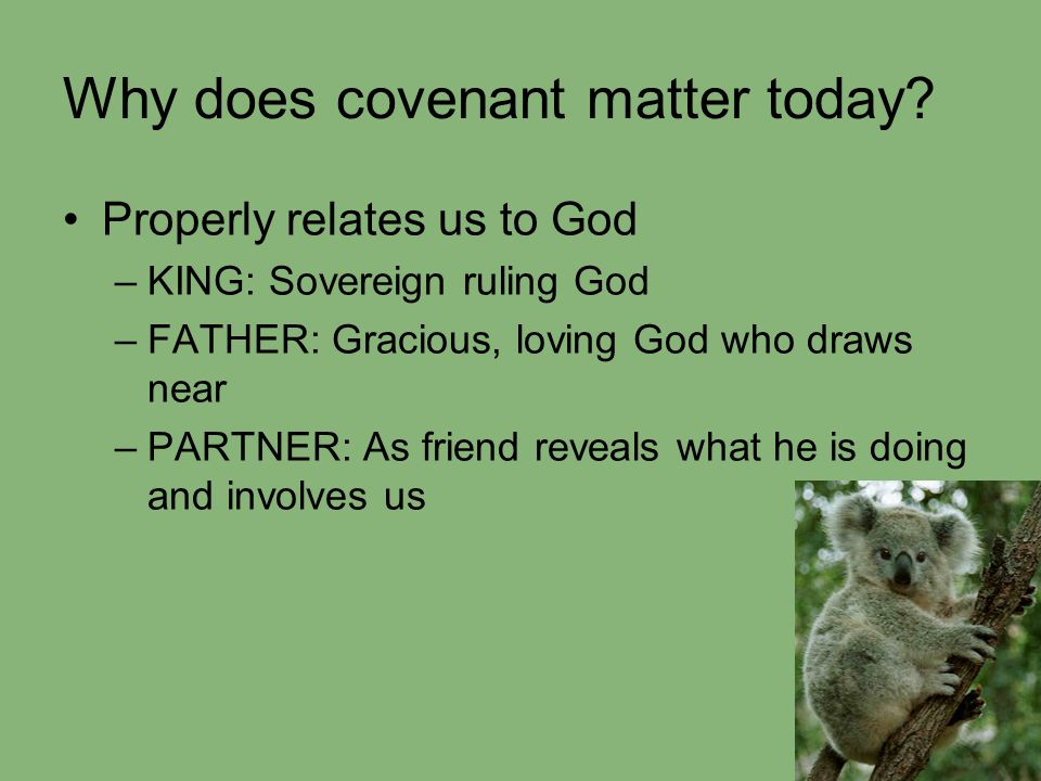 Why does covenant matter today? Properly relates us to God –KING: Sovereign ruling God –FATHER: Gracious, loving God who draws near –PARTNER: As frien