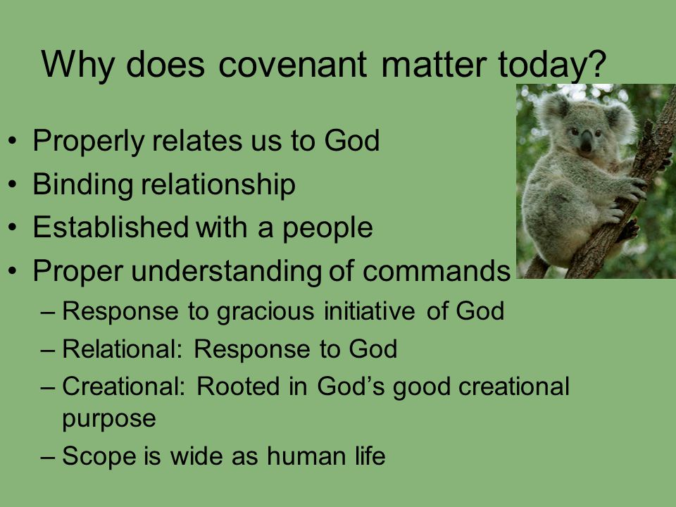 Why does covenant matter today? Properly relates us to God Binding relationship Established with a people Proper understanding of commands –Response t