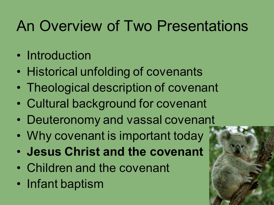 An Overview of Two Presentations Introduction Historical unfolding of covenants Theological description of covenant Cultural background for covenant D