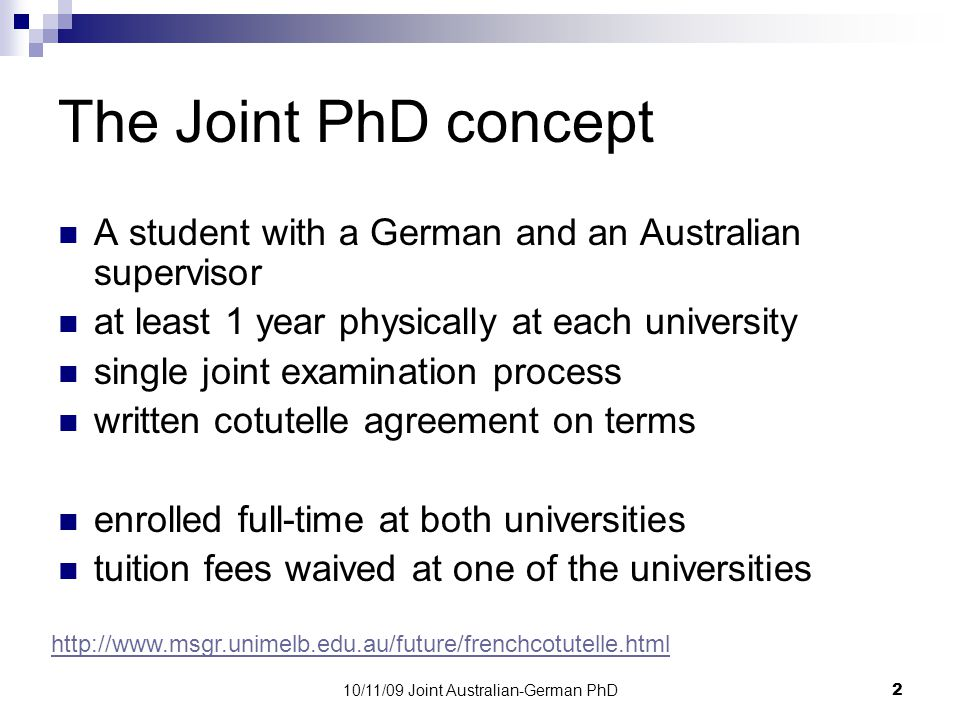 10/11/09 Joint Australian-German PhD13 Our plans for the future 1.