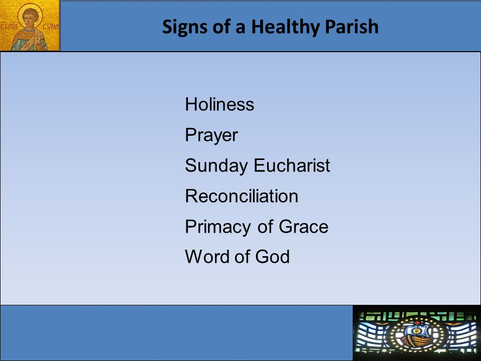 Signs of a Healthy Parish Witness of love Spiritual Communion Diversity of vocations Christian unity Gift of young people
