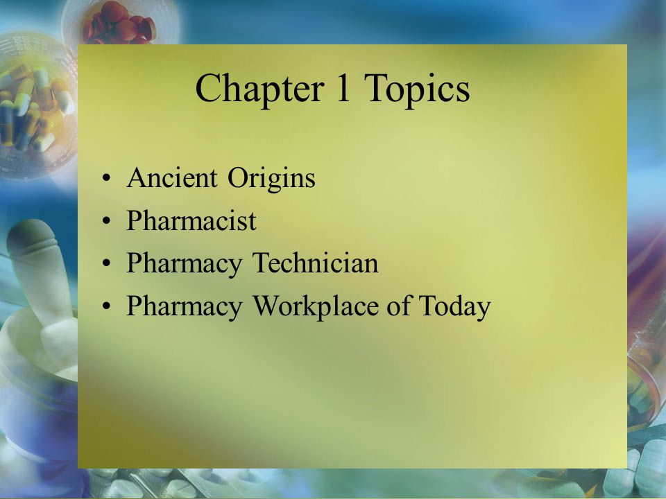 Pharmacy Practice for Technicians Copyright © 20010 Ballington editted by Ryan Lambert-Bellacov fourth Edition Don Ballington Chapter 1 The Profession