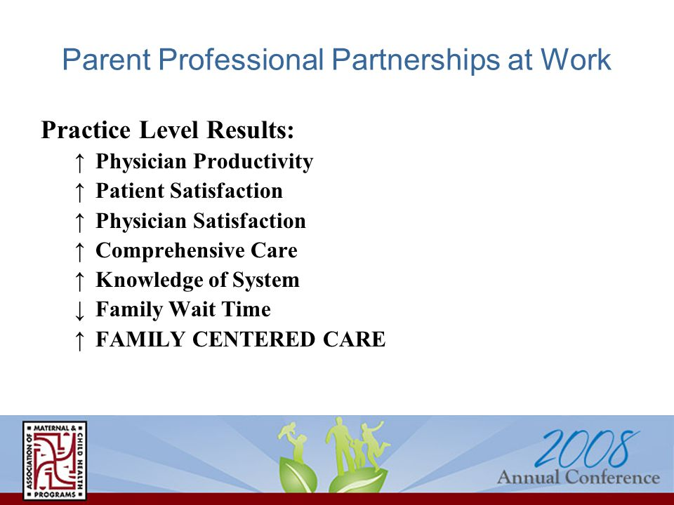 Parent Professional Partnerships at Work Practice Level Results: ↑Physician Productivity ↑Patient Satisfaction ↑Physician Satisfaction ↑Comprehensive Care ↑Knowledge of System ↓Family Wait Time ↑FAMILY CENTERED CARE