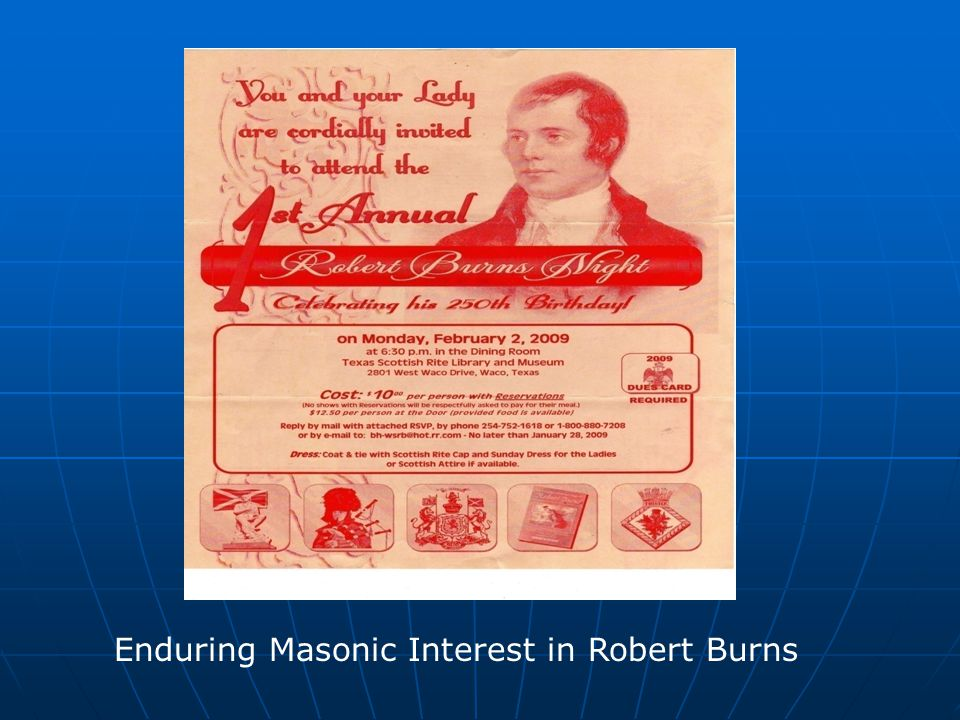 Enduring Masonic Interest in Robert Burns