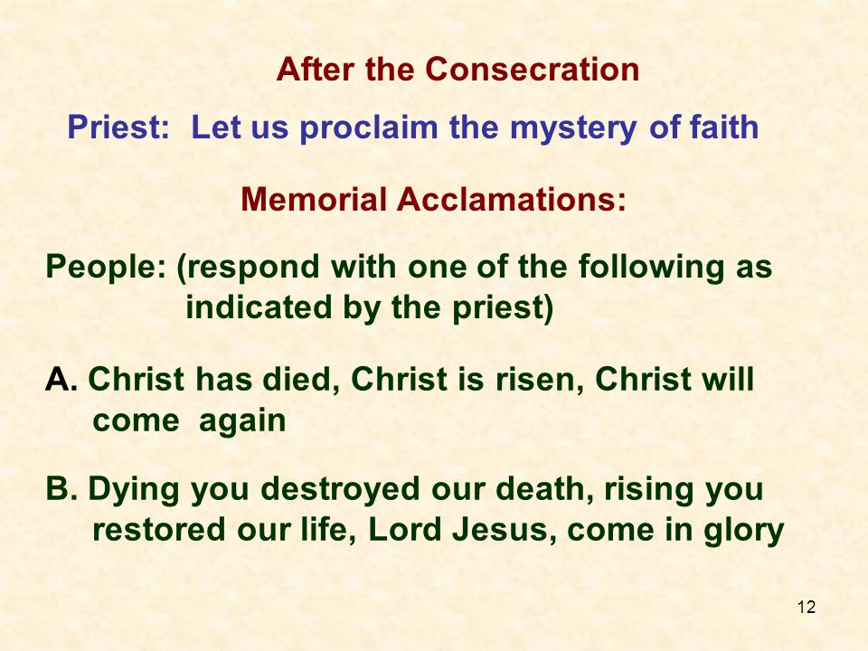 12 A. Christ has died, Christ is risen, Christ will come again B.