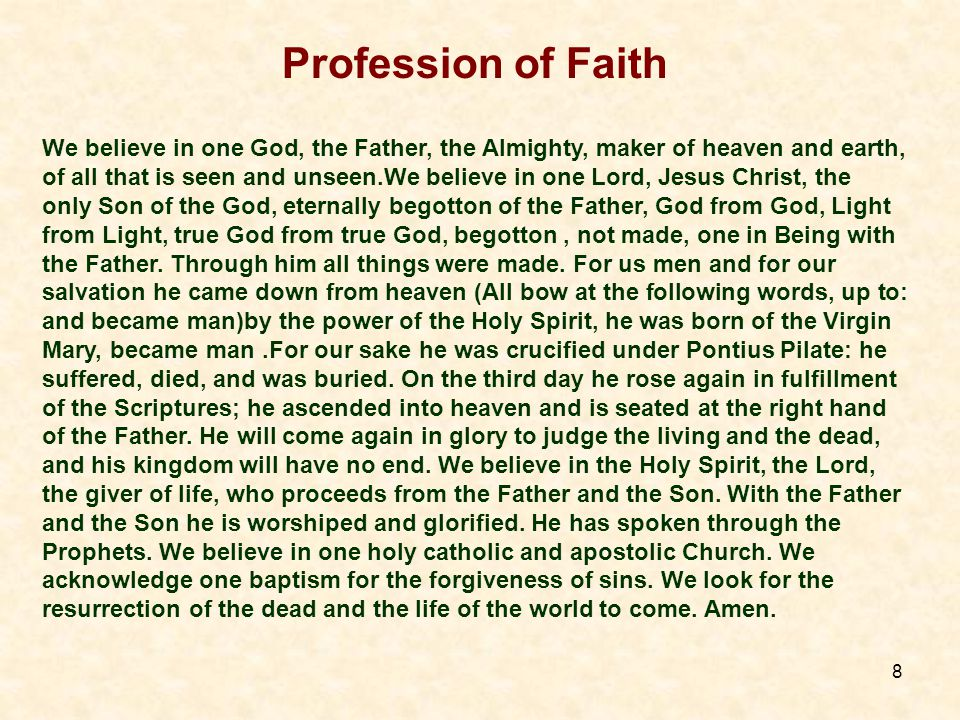 8 Profession of Faith We believe in one God, the Father, the Almighty, maker of heaven and earth, of all that is seen and unseen.We believe in one Lord, Jesus Christ, the only Son of the God, eternally begotton of the Father, God from God, Light from Light, true God from true God, begotton, not made, one in Being with the Father.