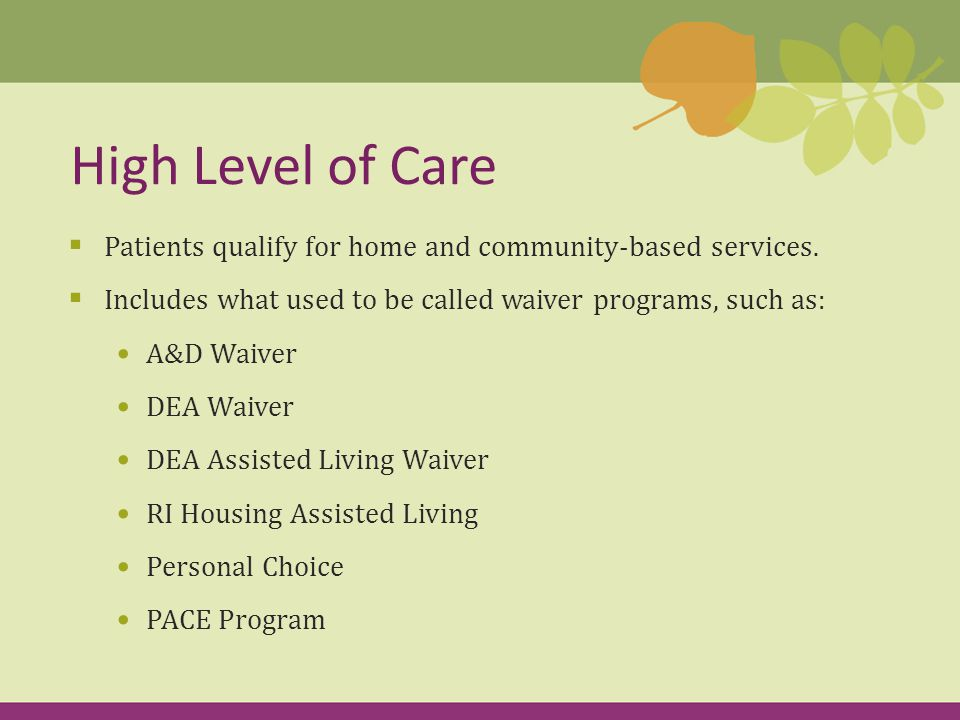 Preventive Level of Care  Patients qualify for limited CNA, homemaker services  Current Title XX recipients (SSI) will continue to receive services managed by the Department of Human Services  Community Medical Assistance patients and non-SSI patients will be referred to the Office of Community Programs