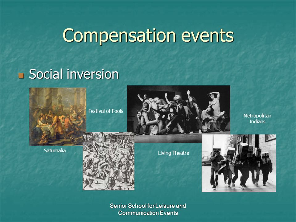 Senior School for Leisure and Communication Events Compensation events Social inversion Social inversion Saturnalia Festival of Fools Living Theatre M