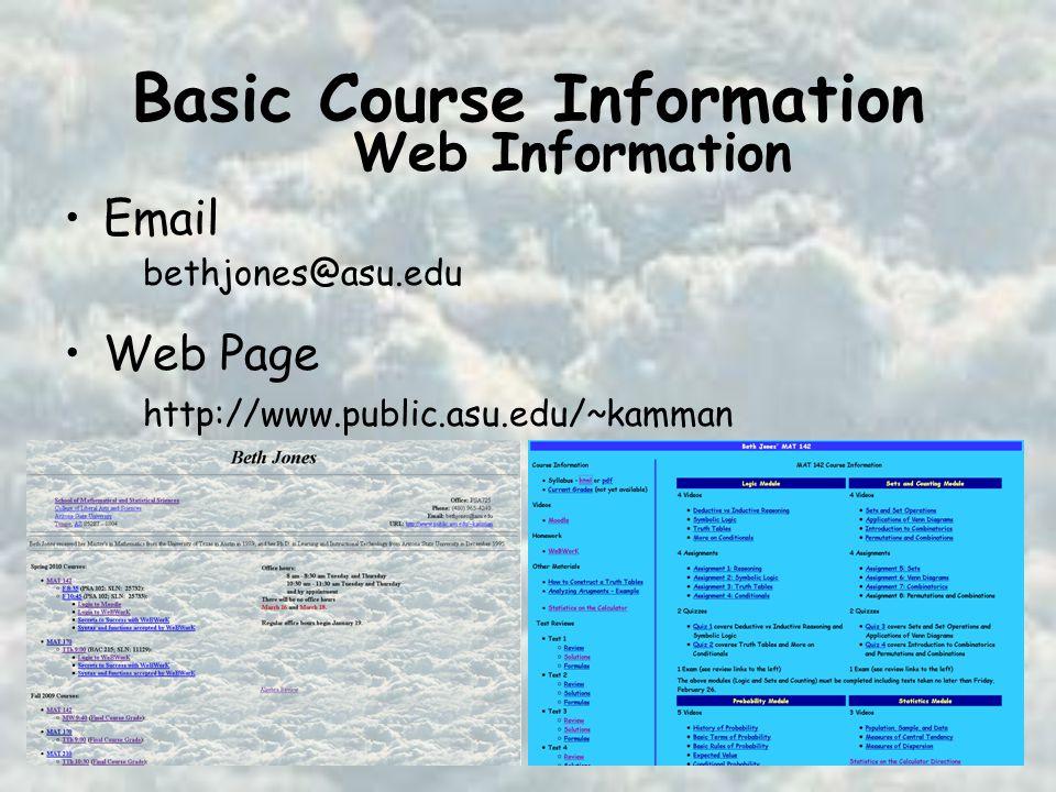 Basic Course Information Email Web Page bethjones@asu.edu http://www.public.asu.edu/~kamman Web Information