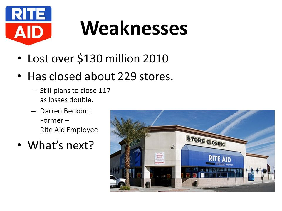 Weaknesses Lost over $130 million 2010 Has closed about 229 stores.