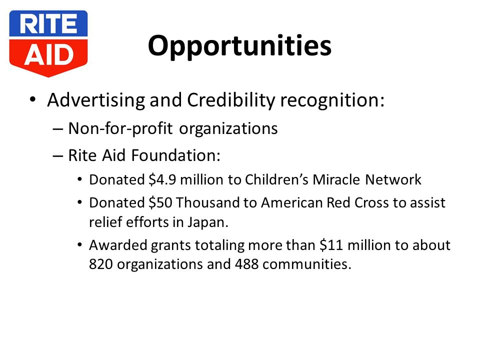 Opportunities Advertising and Credibility recognition: – Non-for-profit organizations – Rite Aid Foundation: Donated $4.9 million to Children's Miracle Network Donated $50 Thousand to American Red Cross to assist relief efforts in Japan.