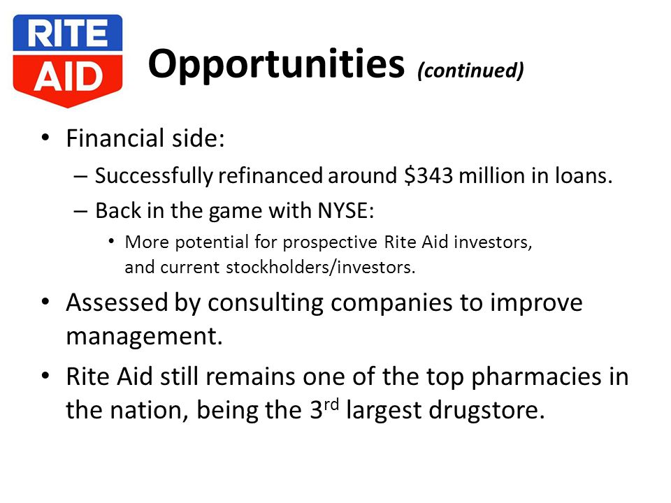 Opportunities (continued) Financial side: – Successfully refinanced around $343 million in loans.