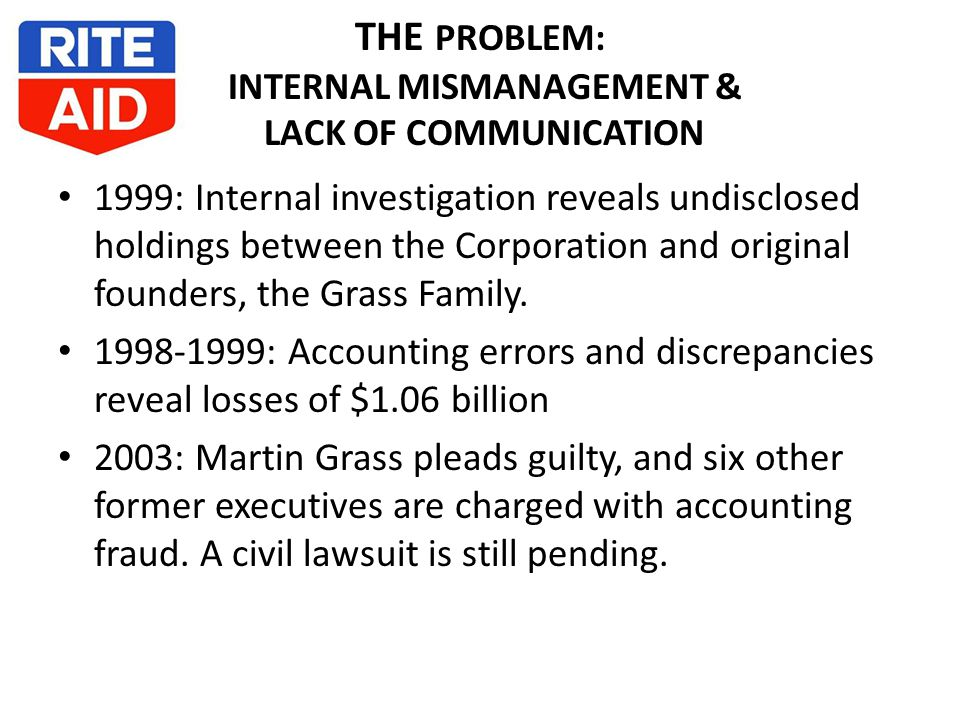 THE PROBLEM: INTERNAL MISMANAGEMENT & LACK OF COMMUNICATION 1999: Internal investigation reveals undisclosed holdings between the Corporation and original founders, the Grass Family.