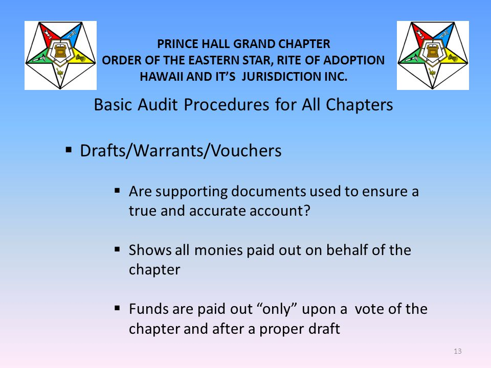PRINCE HALL GRAND CHAPTER ORDER OF THE EASTERN STAR, RITE OF ADOPTION HAWAII AND IT'S JURISDICTION INC. Basic Audit Procedures for All Chapters  Draf