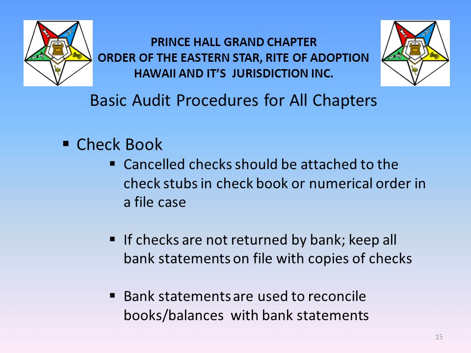PRINCE HALL GRAND CHAPTER ORDER OF THE EASTERN STAR, RITE OF ADOPTION HAWAII AND IT'S JURISDICTION INC. Basic Audit Procedures for All Chapters  Chec