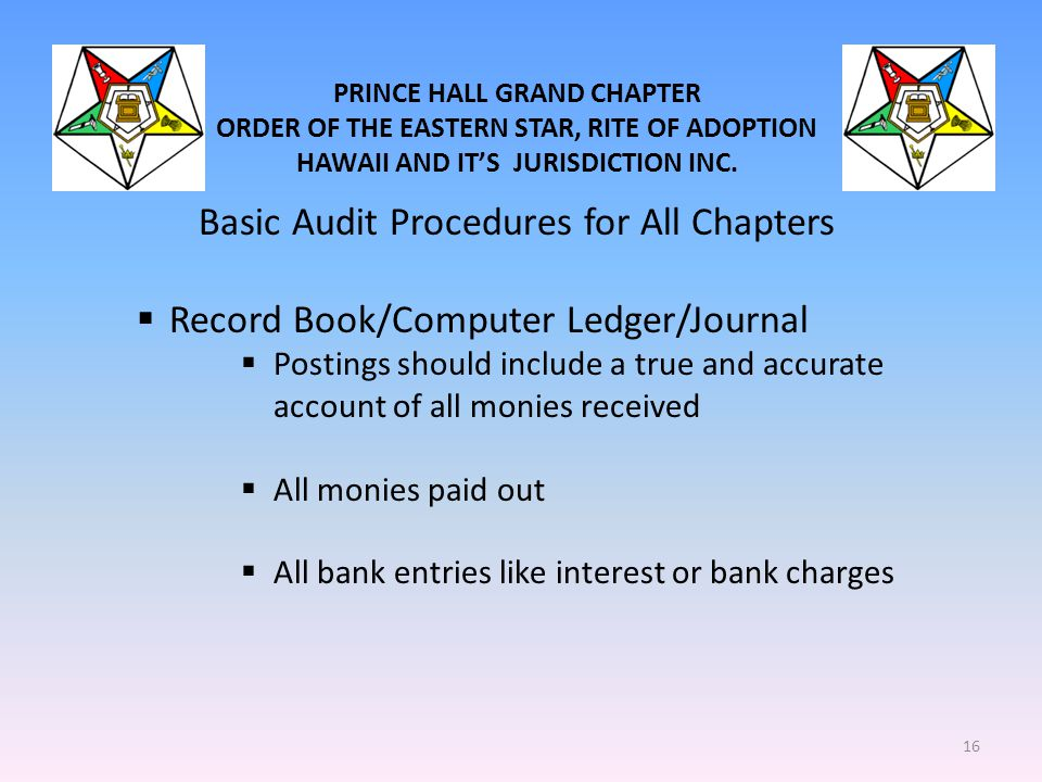 PRINCE HALL GRAND CHAPTER ORDER OF THE EASTERN STAR, RITE OF ADOPTION HAWAII AND IT'S JURISDICTION INC. Basic Audit Procedures for All Chapters  Reco