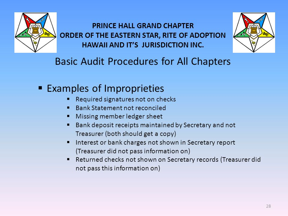 PRINCE HALL GRAND CHAPTER ORDER OF THE EASTERN STAR, RITE OF ADOPTION HAWAII AND IT'S JURISDICTION INC. Basic Audit Procedures for All Chapters  Exam