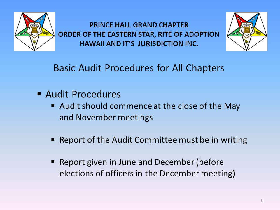 PRINCE HALL GRAND CHAPTER ORDER OF THE EASTERN STAR, RITE OF ADOPTION HAWAII AND IT'S JURISDICTION INC. Basic Audit Procedures for All Chapters  Audi