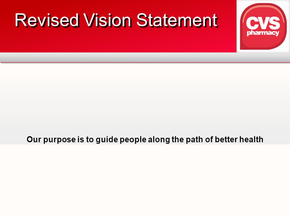 Our purpose is to guide people along the path of better health Revised Vision Statement