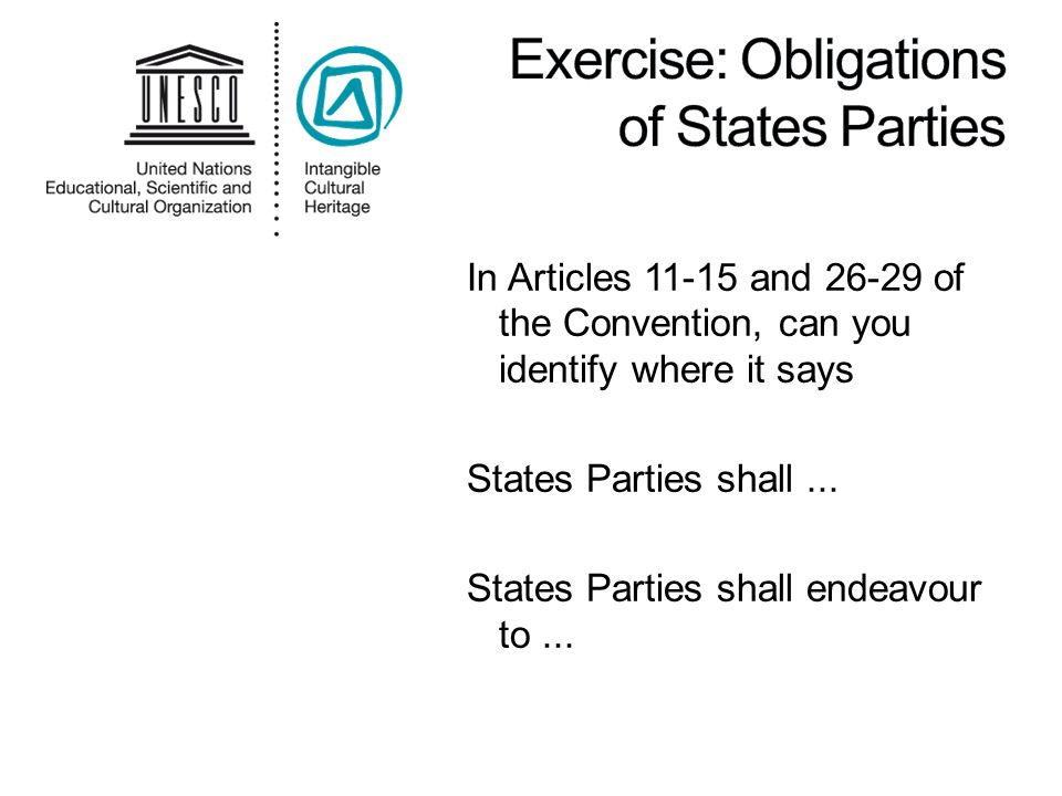 In Articles 11-15 and 26-29 of the Convention, can you identify where it says States Parties shall...